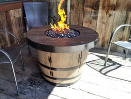 Hand-crafted custom portable wine barrel fire table fire pit for propane or natural gas 92,000 BTUs