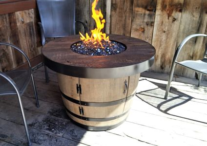 Wine Barrel Fire Tables - cement table tops, Idaho sourced barrels, propane, natural gas, portable