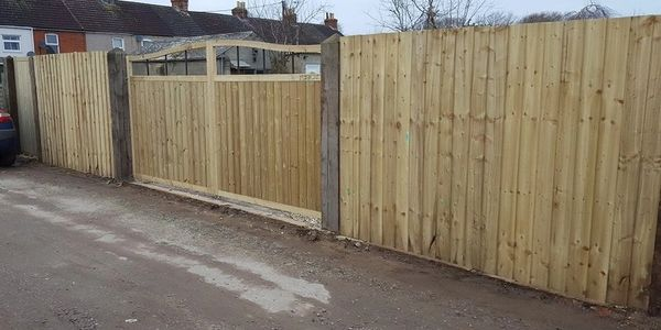 Feather Edge Fencing and Tongue and Groove gates all made to order.  Swan Neck or Straight Gates