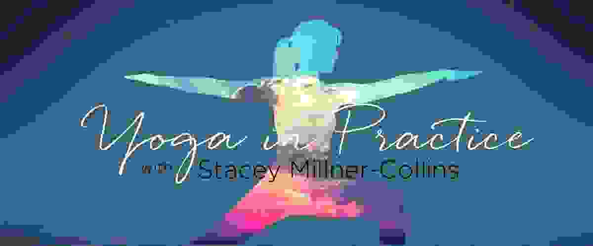 Promotional image for Yoga in Practice with Stacey Millner-Collins. Cutout of woman in Warrior 2 pos