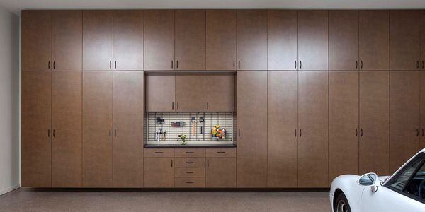 Floor to Ceiling Garage Cabinets in Bronze Finish