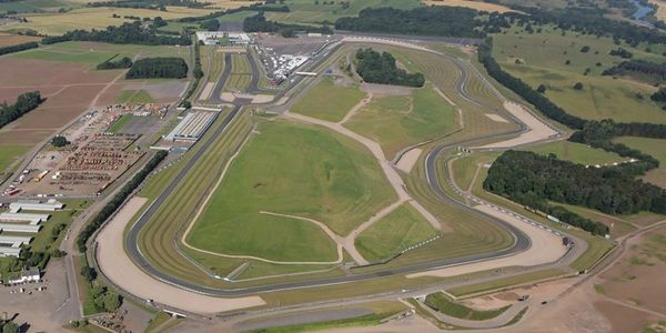 An aerial view of the Donington Park race circuit