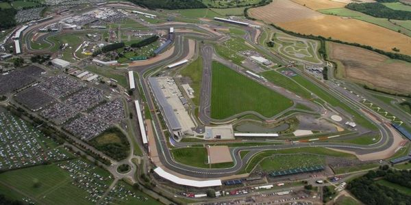 An aerial view of the Silverstone race circuit