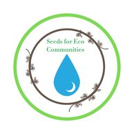 Seeds for Eco Communities logo; blue water drop surrounded by brown leaves inside green circle