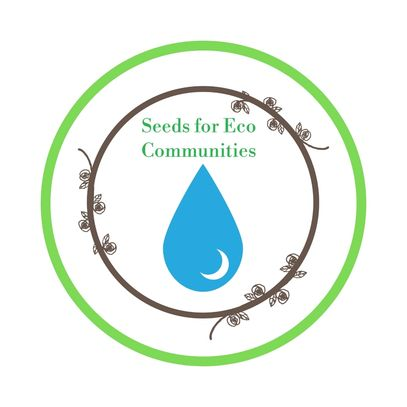 our logo; blue water droplet inside a brown wreath with the organizations name above water droplet