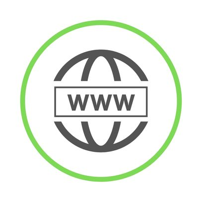 Black world wide web symbol inside of green circle