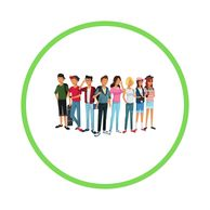Group of kids inside green circle