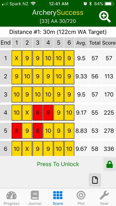 ArcherySuccess -Archery score round locking