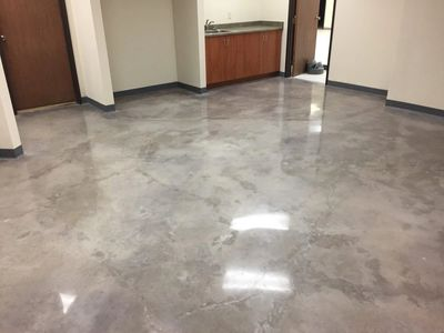 Polished concrete floor / Repaired / Patched and Polished