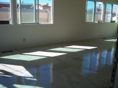 Self leveling cement floor buffed and polished