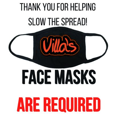 Villa's Grill requires face masks to be work in Dallas, TX per city guidelines