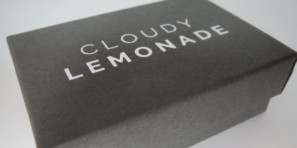 A Cloudy Lemonade gift box made from 100% recycled materials.