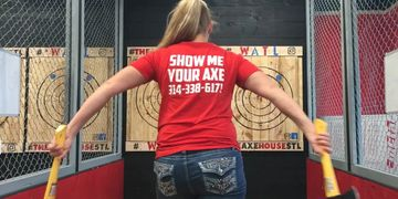 Girls can throw too, Axe Throing in St. Louis, Axes, St. Louis