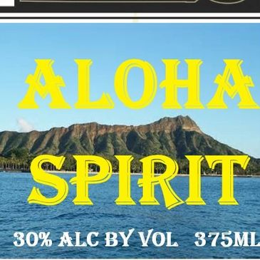 Aloha Spirit Glass Bottle Label  with Distilled and Bottled by RHS LLC Distillery Honolulu HI 96817 USA and website www.RhsDistillery.com . The label  feature Diamond Head  Landmark in Waikiki Neighborhood . On top of the label is RHS Royal Hawaii Spirits Logo in Black and Gold Colors made with aloha in Honolulu hawaii