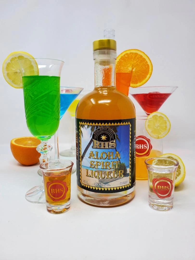 Aloha Spirit Liqueur with Lilikoi Passion Fruit, Ginger and other all natural ingredients by RHS