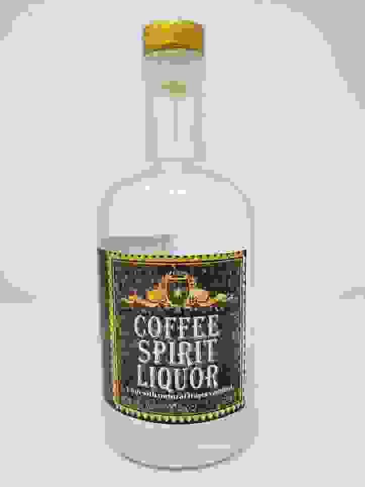 RHS Coffee Spirit Liquor distilled from Kona Coffee with Expresso flavors used In Kona Mule Liqueur