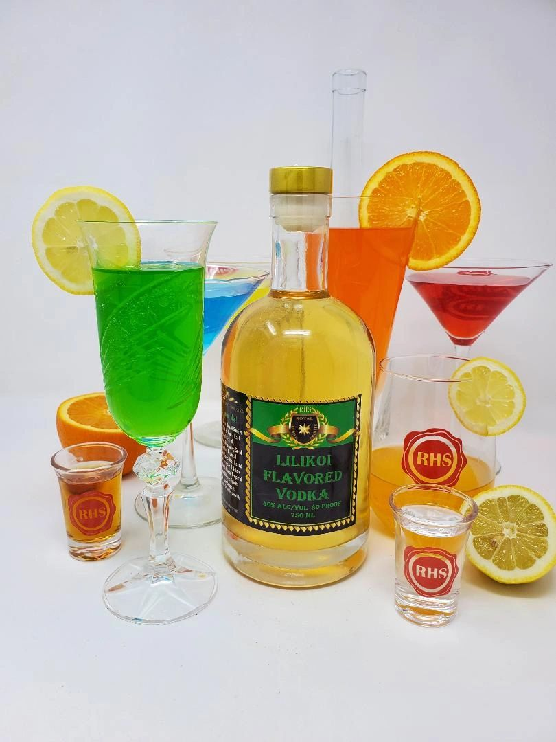 Photo of Cocktails with Lilikoi Flavored Vodka crafted by RHS Royal Hawaii Spirits Distillery Hawaii
