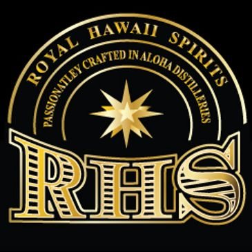 RHS Royal Hawaii Spirits Logo representing Hawaii RHS Distillery, RHS Distribution and RHS Liquor Store and Wholesale. Inside the logo is following sentences: Passionately Crafted in Aloha Distilleries  and Royal Hawaii Spirits . The logo is in black background color with letters and Star Image in Gold . Made with Aloha. Designed By Rhs LLC Honolulu HI 96817 .