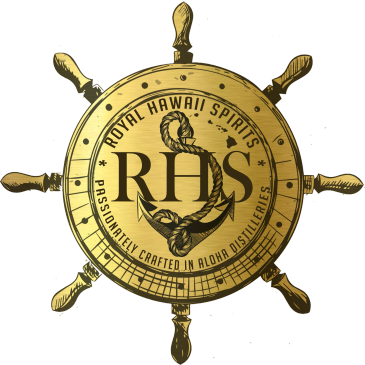 www.RhsDistillery.com Nautical logo by RHS Royal Hawaii Spirits Black in Gold Colors with rope and anchor designed by uncle karl