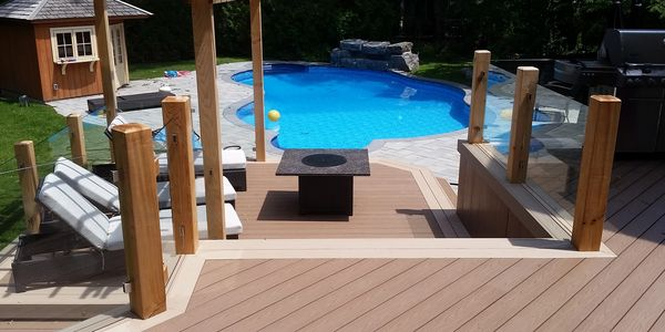 A Timbertech Azek deck built in Mississauga, Ontario. Decking was installed by Perfect View Decks