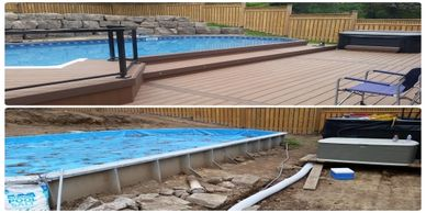Before and after of an deck in burlington. Composite decking and the builder was Perfect View Decks