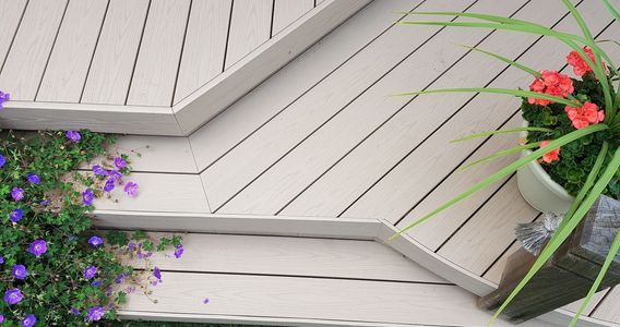 This is a beautiful image of a PVC deck in Oakville, Ontario.  The decking was Timbertech Azek  pvc