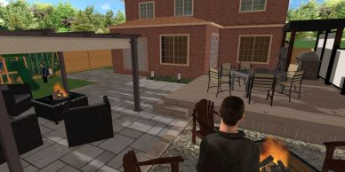 Deck design with a patio and firepit area for a Hamilton backyard.  The deck includes a flat roof