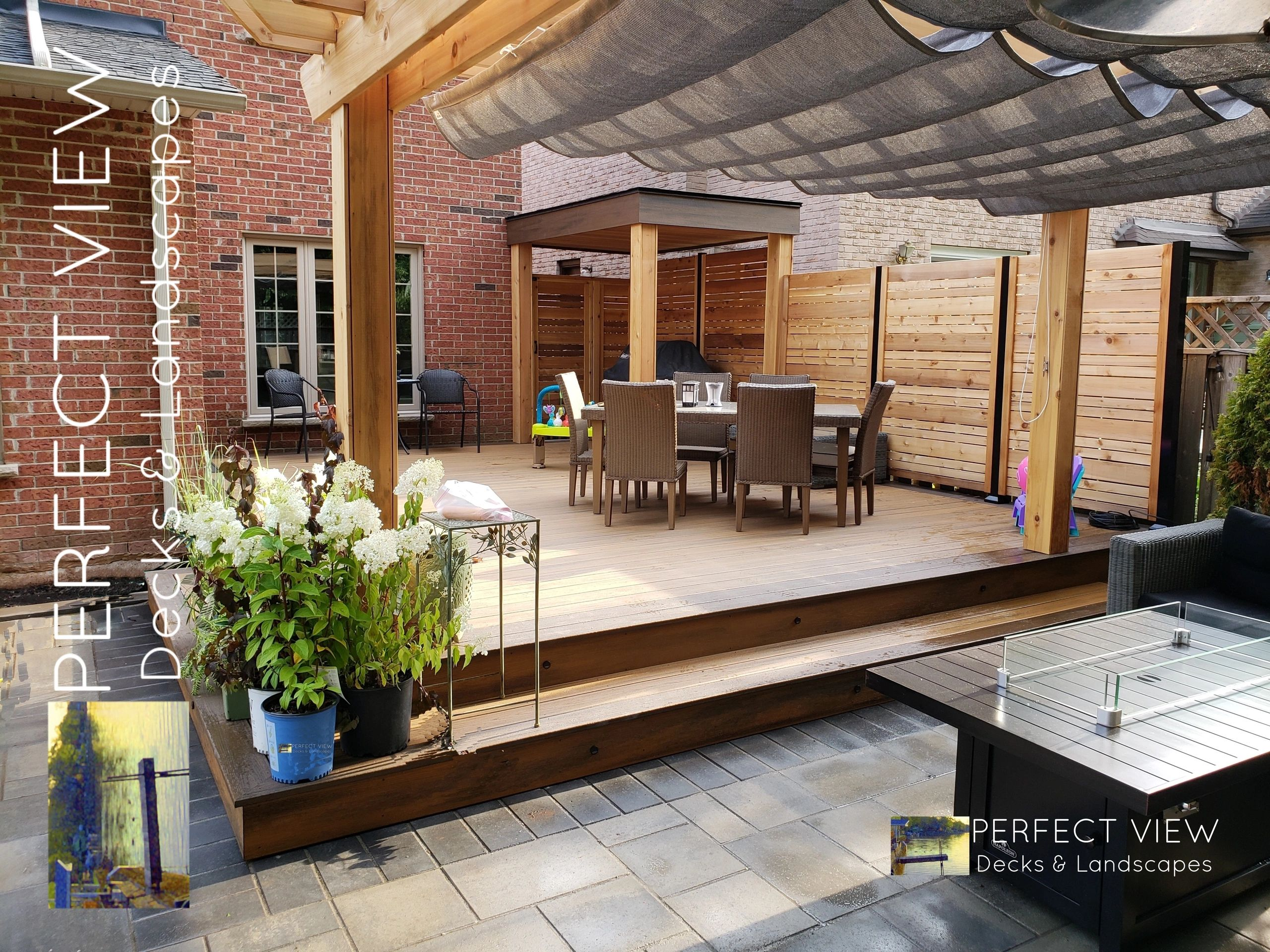 A deck and Landscaping project in Oakville, Ontario. Decking material from Mississauga & Burlington