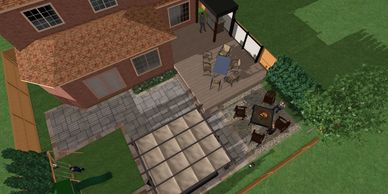 Here we have a deck and hardscape plan for a backyard build in Mississauga with  landscape patio