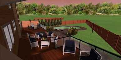 A big backyard plan for a house in Toronto.  The design included a big paver patio area with a pool.