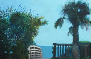 "Titled ""Beach Walk with Sea Grape"" By Sheila Psaledas Oil Painting Fine Artist"
