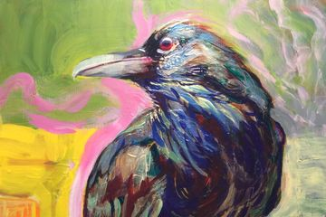 Clever Raven. Painted in acrylics at art classes uxbridge school