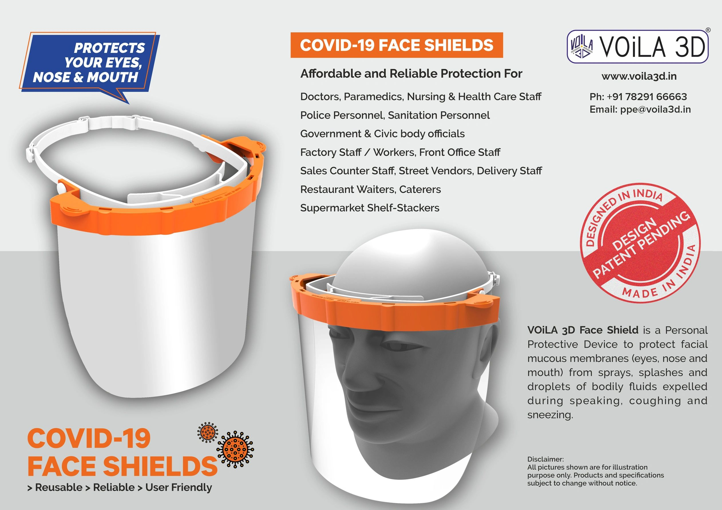 Face Shields PPE for COVID-19 by VOiLA3D