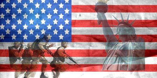 American flag overlayed with combat soldiers and statute of liberty.
