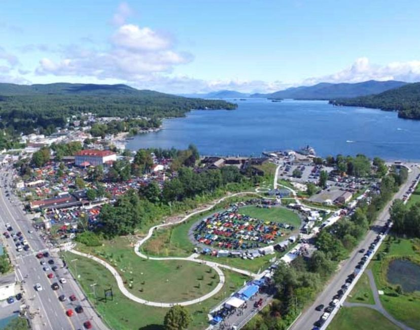 Aerial view of Adirondack nationals car show in Lake George