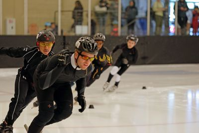 speed skaters competing at the Saguaro Classic Short Track Race