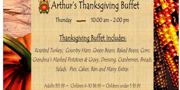 Our famous Thanksgiving Brunch. Leave the dishes to us.  Enjoy time with your family, our large buff