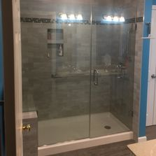 bathroom remodel, glass shower door, low threshold shower, bench seat in shower, walk-in shower