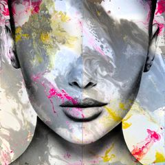 dreamy colors swirling inside the shape of a woman's face