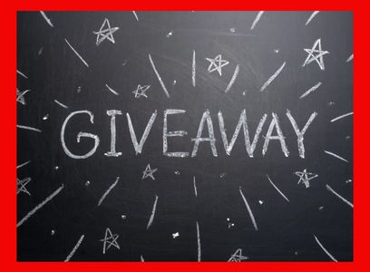 black chalkboard with the word 'giveaway' in white chalk, with a red border