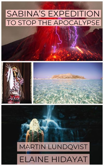 Sabina's Expedition cover: A volcanic eruption, a witch, a Island and a blonde girl in a cave