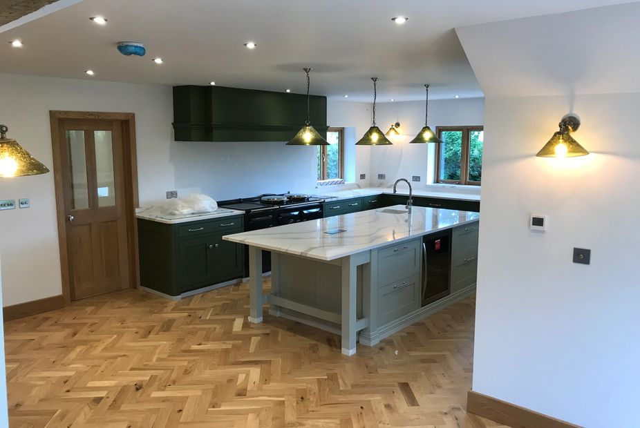 Kitchen completed by our team of electricians on a large extension.