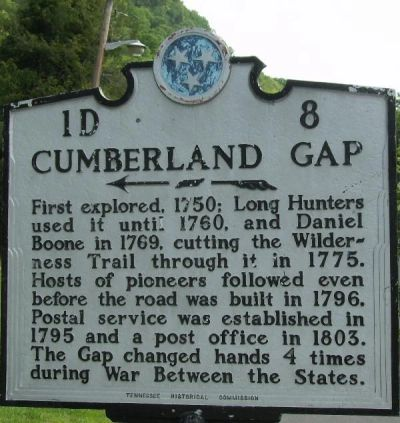Cumberland Gap, Tennessee Historical Marker
