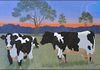 """Bovine Evening"" (2014), Acrylic on canvas, signed L/R, Size: 28 x 40"", Framed: 31 x 45"""