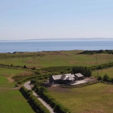 Cottage drone view
