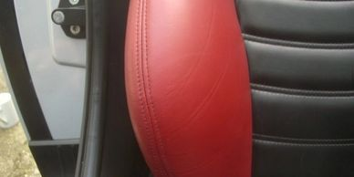 Leather car seat repair to side bolster