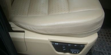 Leather car seat repairs - vinyl car seat repairs - torn leather - tear in leather