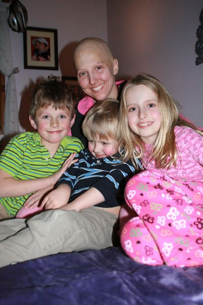 Kristen Short and children during her breast cancer treatment, 2011.  Photo by husband Chris Short.