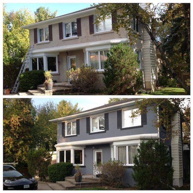 Before and after exterior house paint job