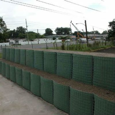 Gabion flood barriers stacked